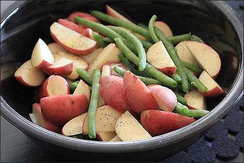 Red potatoes and green beans