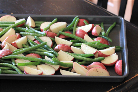 Red Potatoes and Green Beans on Cookie Sheet