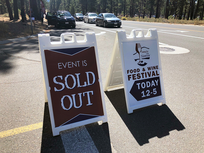Sample the Sierra Food and Wine Festival - Event sold out sign