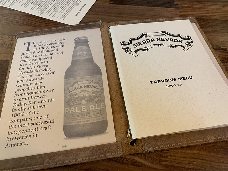 Sierra Nevada Brewing Co. Menu